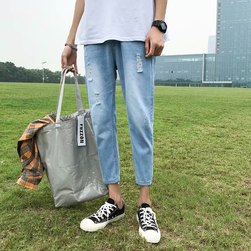 Summer Thin Section Capri With Holes Jeans Men Korean-style Trend Slim Fit Pants Pants 9 Points Ripped Jeans Light Color