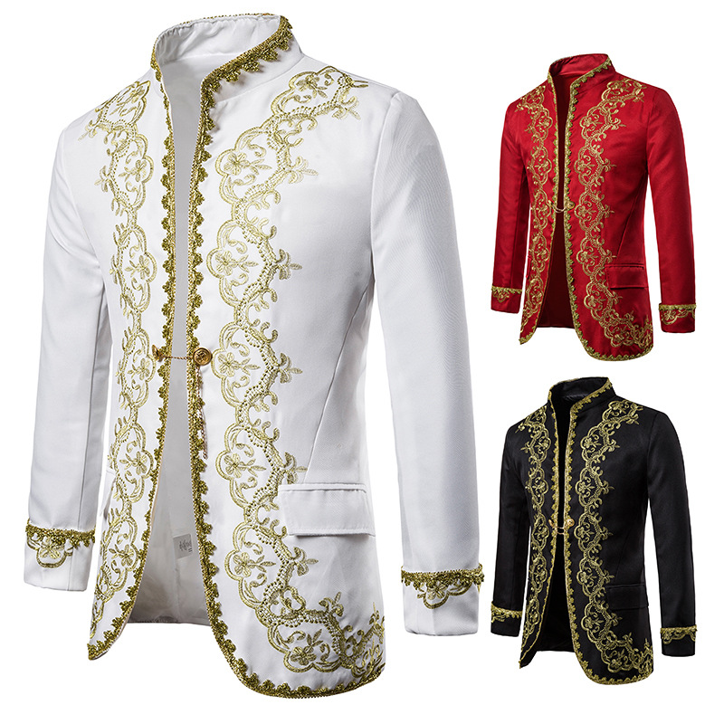 Stylish Gold Embroidery Palace Blazer Jacket Male Double Breasted Baroque Style Dress Blazer Men Stage Prom Opera Show Costume