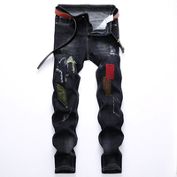 Men's Jeans Fashion New Stretch Jeans Men's Jeans Men's Autumn and Winter Hole Cut Rotten Patch Denim Trousers