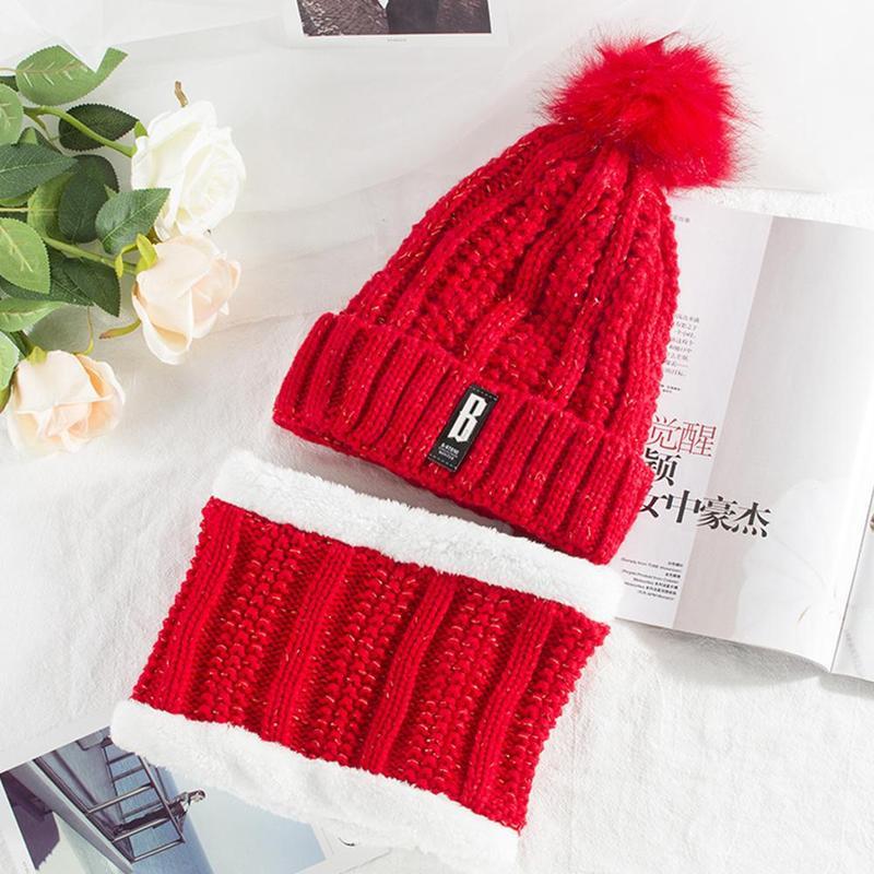 Hat Ladies Autumn And Winter Fashion Wool Plus Velvet Thick Warm Windproof Knit Hat Bib