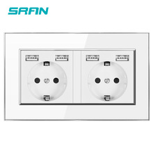 Wall 16A EU Standard Multi Way Power Socket Plug Grounded Electrical Socket with usb outlet strip 146 Acrylic panel family hotel