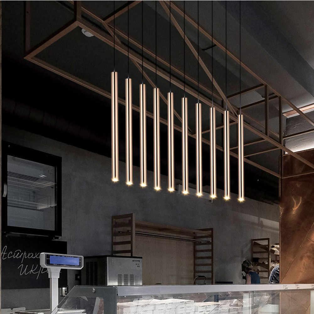Мини простой современный светодиодный светильник для ресторана бара с длинной трубкой светодиодный подвесной светильник черный/белый/золотой обеденный стол передний провод подвесной светодиодный светильник