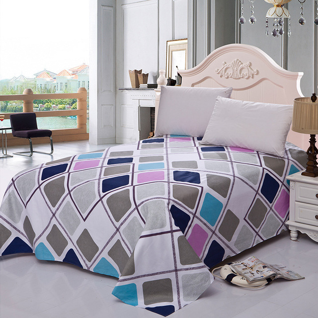 1 Piece 100% Cotton Flat Sheet For Children Adults Single Double Colorful Striped Bed Flat Bedsheets (No Pillowcase) XF631-26