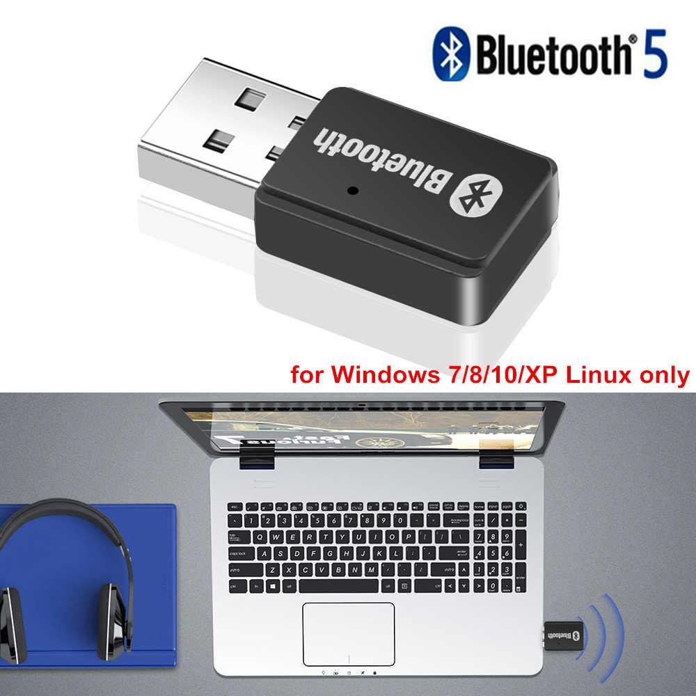 بلوتوث 5.0 قطعة جهاز إرسال سمعي للبلوتوث سماعة ستيريو USB AUX الموسيقى محول ل ويندوز 7/8/10/ XP لينكس MP3 رئيس