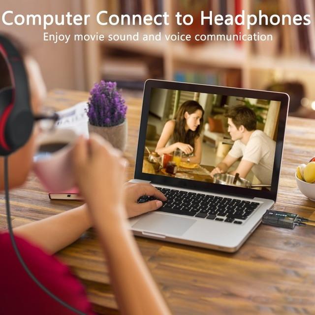 GOOJODOQ External USB Sound Card Adapter Audio 5.1 virtual 3D USB to 3.5mm microphone Speaker headphone Interface For Laptop PC 1