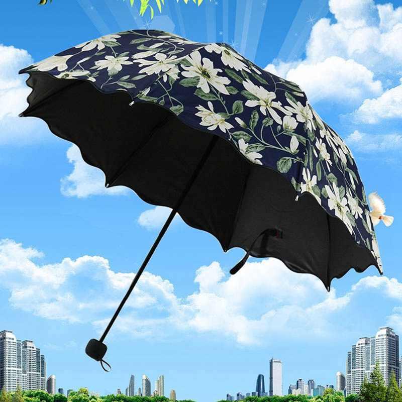 Paraguas con patrón para mujer UV 2019 de alta calidad con pliegues de tres pliegues, sombrilla a prueba de lirio, capa negra, paraguas para mujer 50RR054