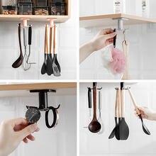 360 stopni obrócone haczyki kuchenne samoprzylepne 6 haki Home Wall hak do drzwi torebka ubrania krawaty wieszak na torebkę wieszak