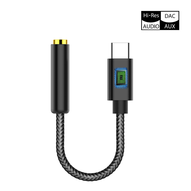Type C Audio Cable USB C AUX Adapter With Intelligent IC, External 384 KHz DAC Equal To Sound Card For Your Phones