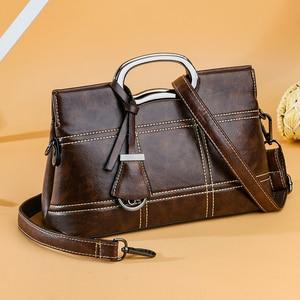 Image 3 - Vintage Lederen Crossbody Tas Hand Tassen Voor Vrouwen 2020 Designer Vrouwen Schouder Messenger Bags Sac Dames Handtassen Hoge Kwaliteit