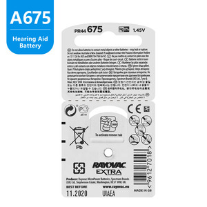 Image 4 - 60 pièces Rayovac Extra Piles Auditives Zinc Air 675A 675 A675 PR44 Pour aide Auditive