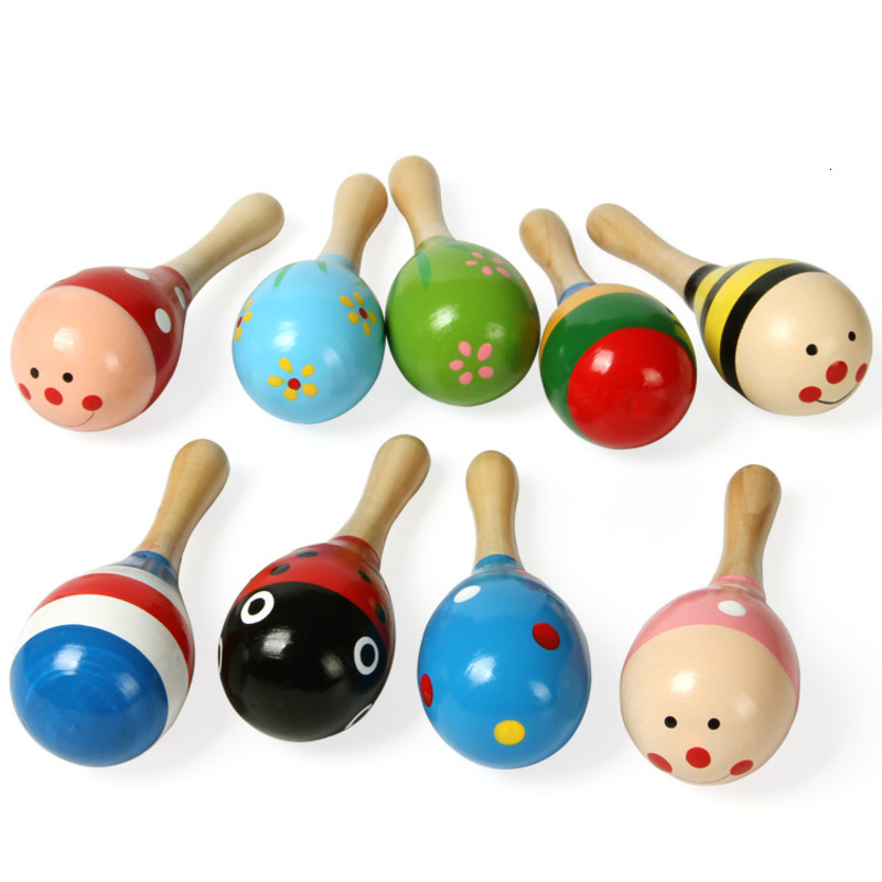 1PCS Mini Colorful Baby Wooden Sand Hammer Rattle Toys Musical Instrument Sound Maker Infant Attetion Training Toy Random Color