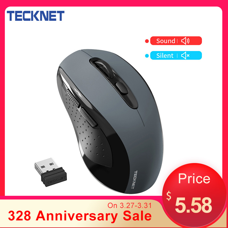 TeckNet Sound Ordinary Wireless Mouse Silent Mouse 2000DPI Computer Ergonomic Mouse Mute USB Wireless Mice For Laptop PC Mouse