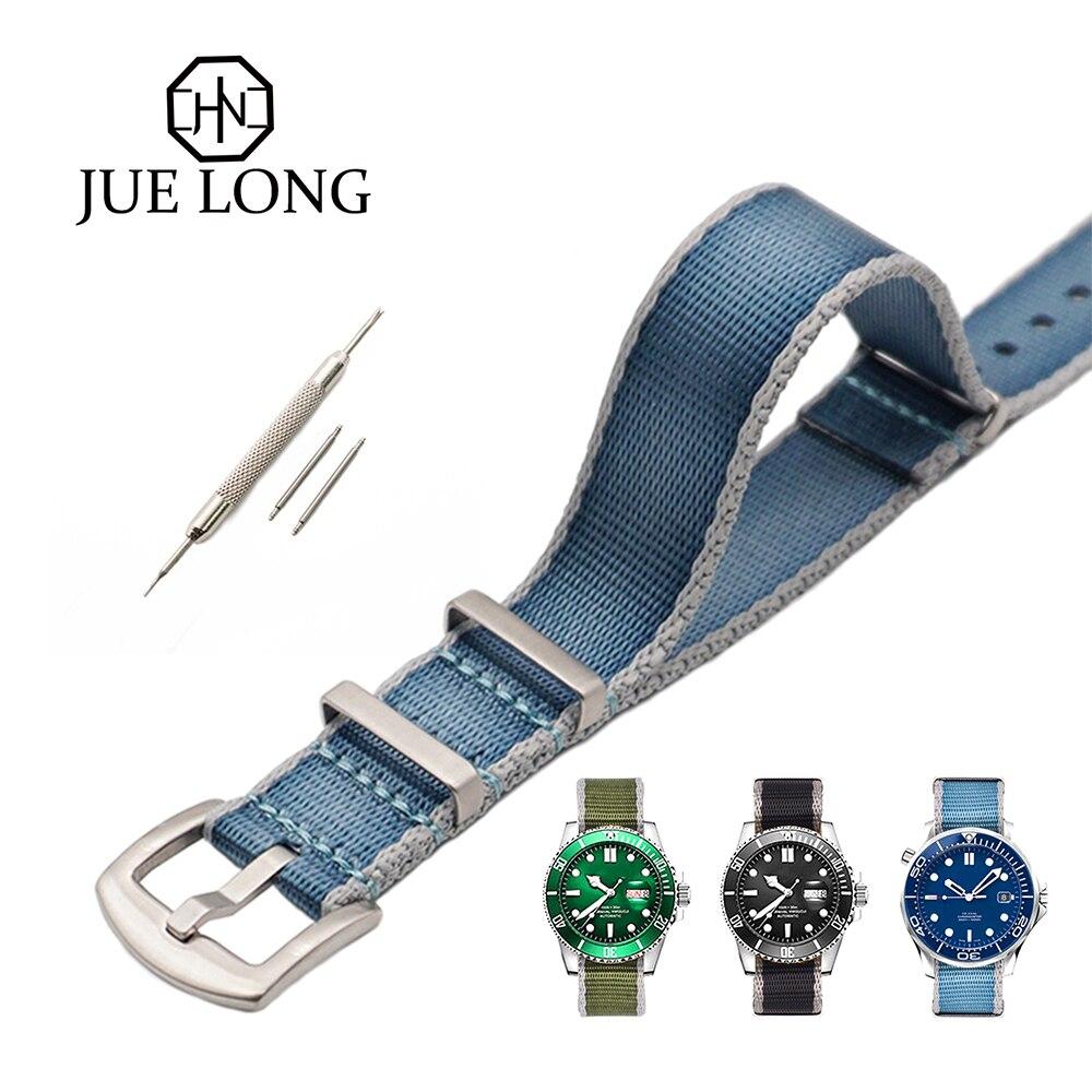 New Design Hight Quality Nylon Straps James Bond Blue Seatbelt Watch Band 20mm 22mm Nato Strap