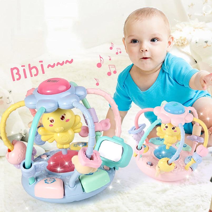 brinquedos do bebe mao tambor movel do bebe chocalhos historia musical educacional contas redondas mao mordedor