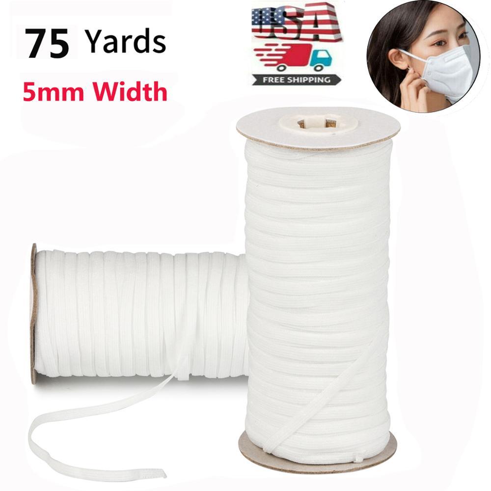 75 Yards Length DIY Braided Sewing Elastic Band Cord Knit Band Sewing 5mm masks high elastic flat rubber band waist only masks(China)