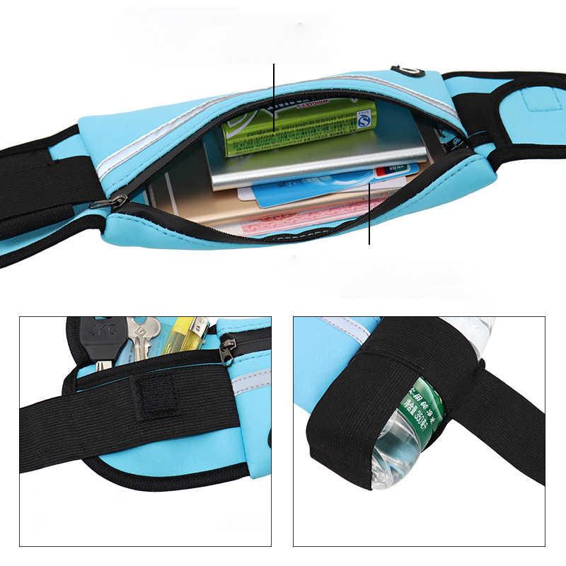 Wodoodporny Running talii torba płótno sportowe do biegania przenośny odkryty uchwyt na telefon saszetka na pasek kobiety mężczyźni Fitness Sport akcesoria