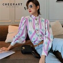 CHEERART – chemisier Court à manches bouffantes pour femme, haut d'automne à manches longues, rose rayé, imprimé Floral, Style coréen