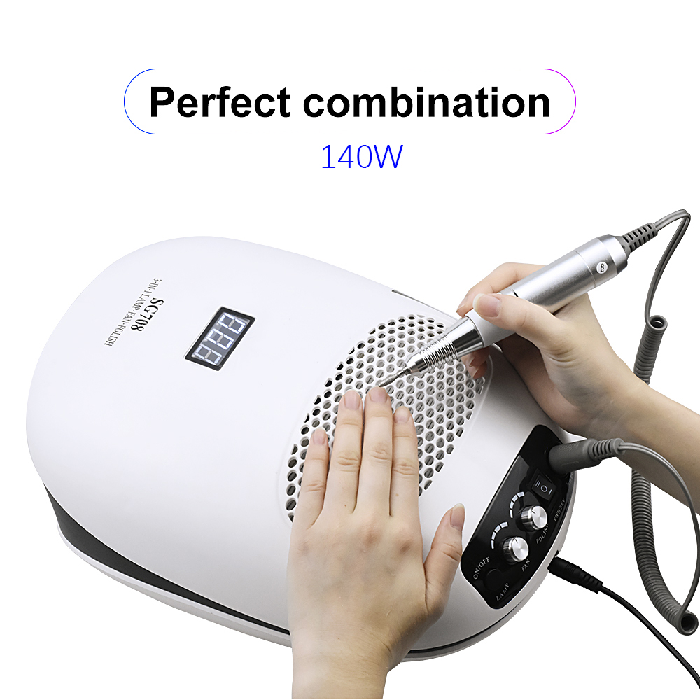 140W 3-IN-1 Nail Drill Manicure Machine & Nail Dust Vacuum Cleaner & UV Lamp Extractor Fan For Manicure Nail Tool Dust Collector