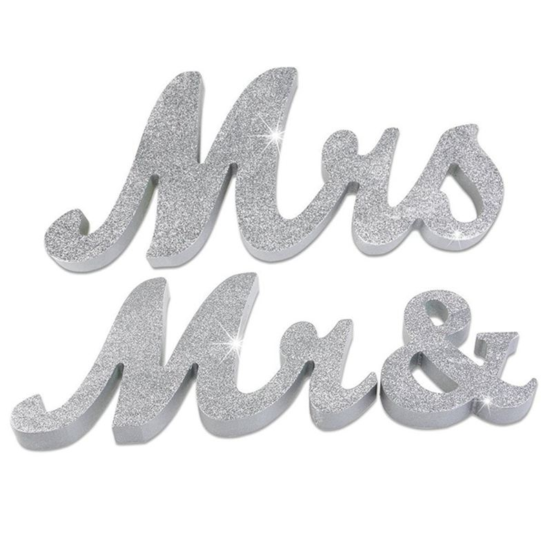 Large Vintage Exquisite White Mr & Mrs Signs Elegnat Wooden Freestanding Letters For Wedding Sweetheart Table Or Receptions Tabl
