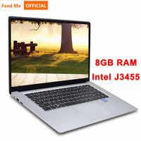 15.6 pouces 8GB RAM 256 GB/512 GB SSD ordinateur portable intel J3455 Quad Core ordinateurs portables avec écran FHD Ultrabook ordinateur étudiant
