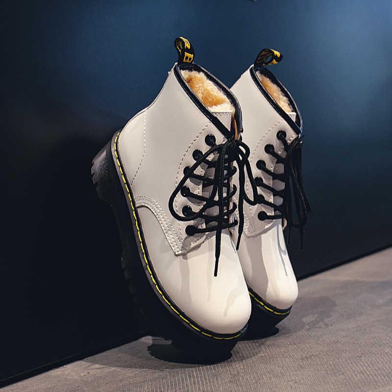 """Mùa Đông Giày Zapatillas Mujer """"Cho Nữ Nền Tảng Giữa Ống Giày Bốt Nữ Thời Trang Phong Cách Đường Phố Mùa Đông Màu Đen U11-85"""