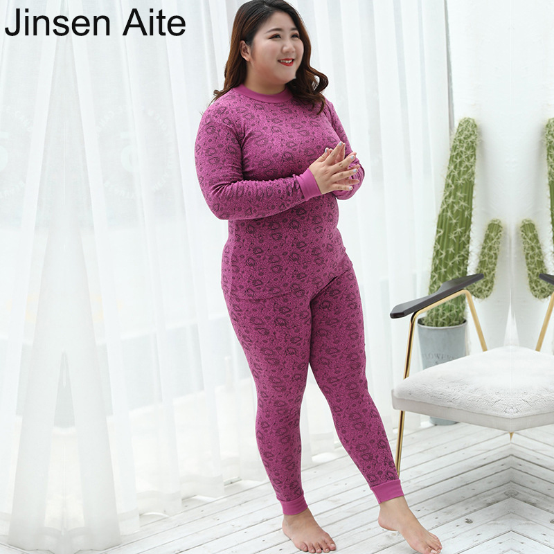 Jinsen Aite New Women Thermal Underwear Plus Size 7XL Print Cotton Long Johns Autumn Winter Warm Underwear Sets Large Size JS853