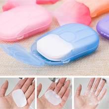 1/2/3/4/5 caixas que desinfectam sabonetes de papel que lavam a mão mini folhas de fatia perfumadas descartáveis que espumam o papel da caixa do sabão (1 caixa = 20 pces)