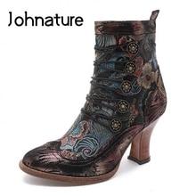 Johnature Retro buty damskie do kostki krótkie pluszowe buty damskie skórzana tkanina haftowana Patchwork Zip ręcznie robione buty na platformie
