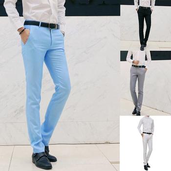 2020 męska wiosna jesień moda Business Casual garsonka z długimi spodniami spodnie męskie elastyczne proste formalne spodnie Plus Big Size tanie i dobre opinie CN (pochodzenie) 595087 POLIESTER Mieszkanie Na co dzień na zamek błyskawiczny