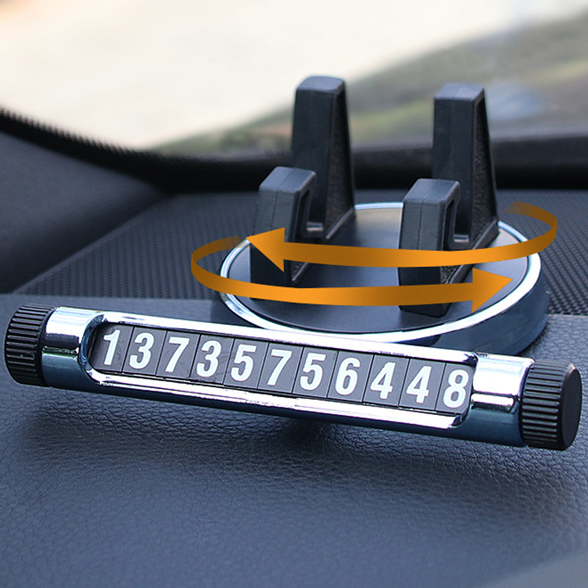 2 in1 360 Degree Luminous Digital Temporary Car Parking Phone Number Plate Cellphone Cradle Holder Mount