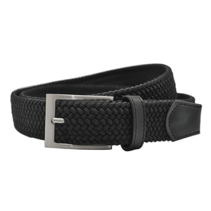 Image 4 - Cinturones elásticos trenzados de alta calidad para hombre, de metal cepillado Hebilla, marrón, Beige, azul y negro
