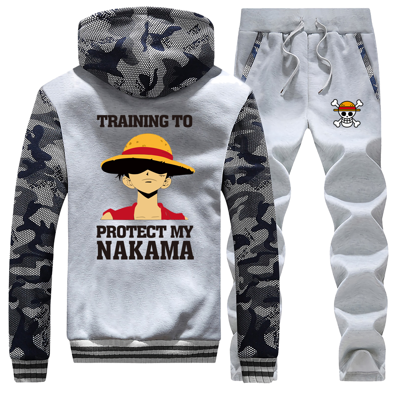 The Pirate King Luffy Winter Brand Mens Jacket+Sweatpants One Piece Thick Male Hoodies Zip Sports Pant 2 Piece Sets Warm Clothes