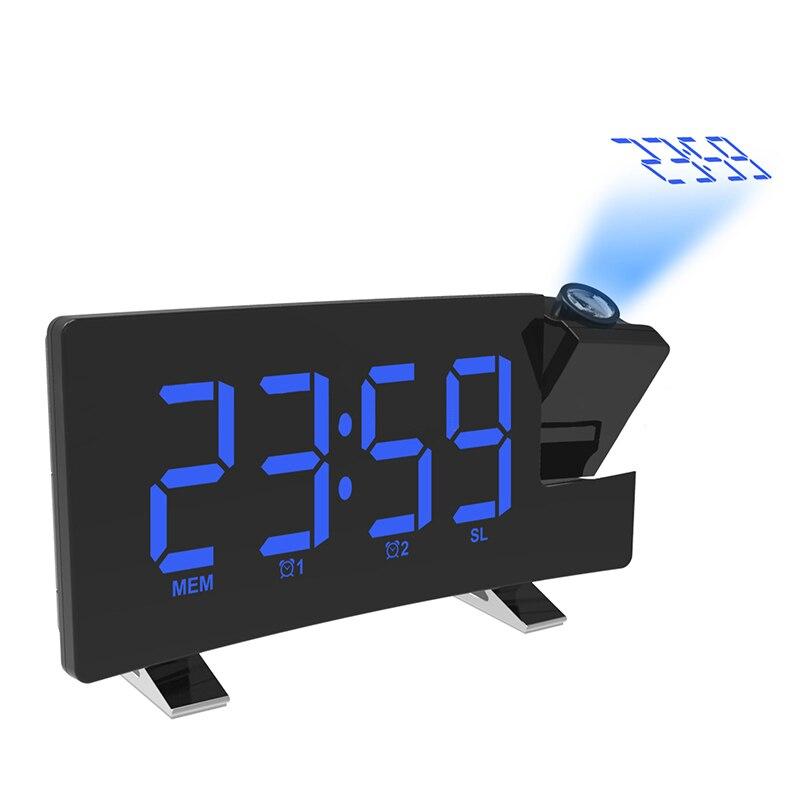Проекционный будильник со светодиодный ным дисплеем, цифровые часы с вращающимся проектором 180, двойной будильник с функцией повтора FM-ради...