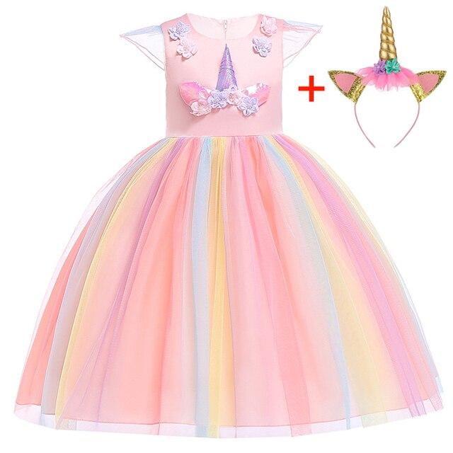 платье для девочки;Новое платье с единорогом для девочек; девочки праздничное платье принцессы; Детские Свадебные платья на день рождения для маленьких девочек рождественское платье; одежда для детей