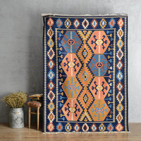 Turkish Indian ethnic style imported hand woven wool KILIM home living room coffee table sofa thin carpet gc137kli09yg2