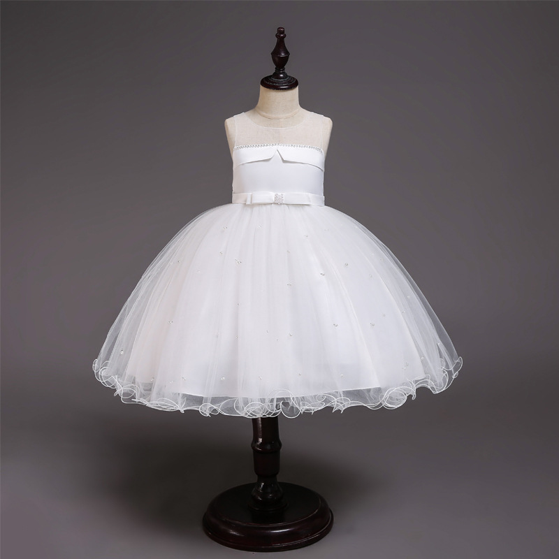 Hot Selling CHILDREN'S Full Dress Girls Wedding Dress Handmade Bead Four Colors Gauze Princess Dress Performance Host Formal Dre