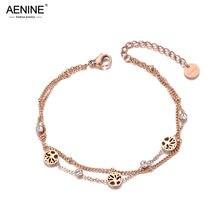 Lokaer na moda camadas duplas cz ctystal árvore charme pulseira para mulher de aço inoxidável bohemia elo de corrente pulseiras b19081