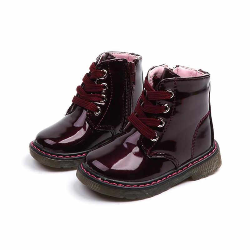סתיו חורף בנות מגפי למעלה מכירת בני מרטין מגפי חדש אופנה מותג ילדי עור נעלי בנות רוכסן רך מזדמן מגפיים