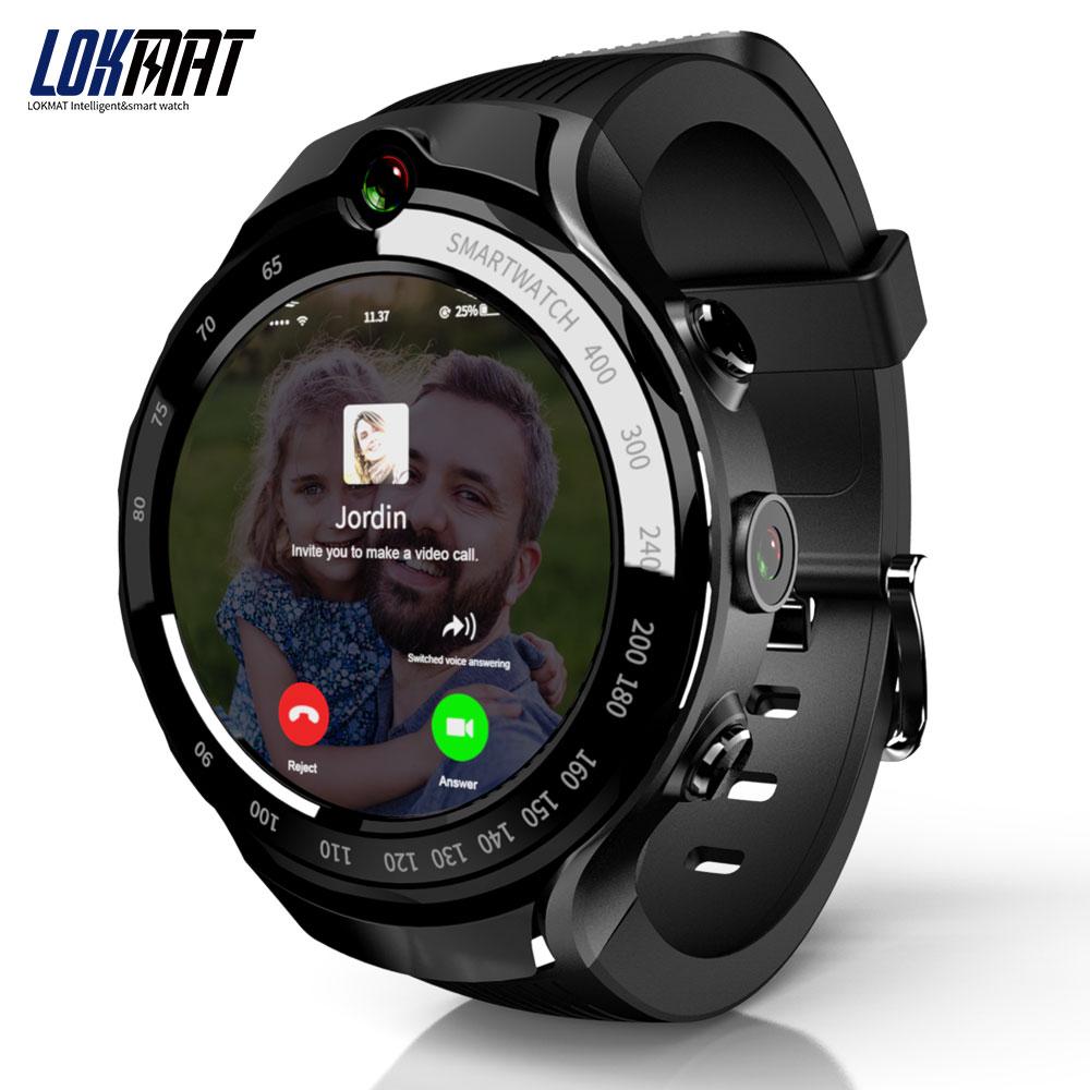 LOKMAT 4G 5mp + 5mp Câmera Dupla Homens Relógio Inteligente Android 7.1 GB + 16 MTK6739 1GB 400*400 Tela AMOLED GPS WI-FI Smartwatch Para ios