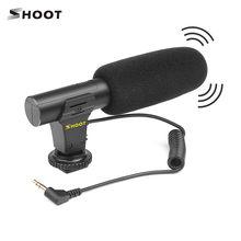 Shoot microfone estéreo portátil, microfone condensador portátil com conector de XT-451 mm para câmera canon sony nikon camcorder, 3.5