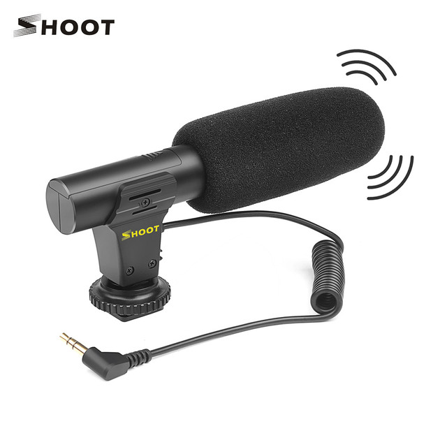 SHOOT XT 451 Portable Condenser Stereo Microphone Mic with 3.5mm Jack Hot Shoe Mount for Canon Sony Nikon Camera Camcorder
