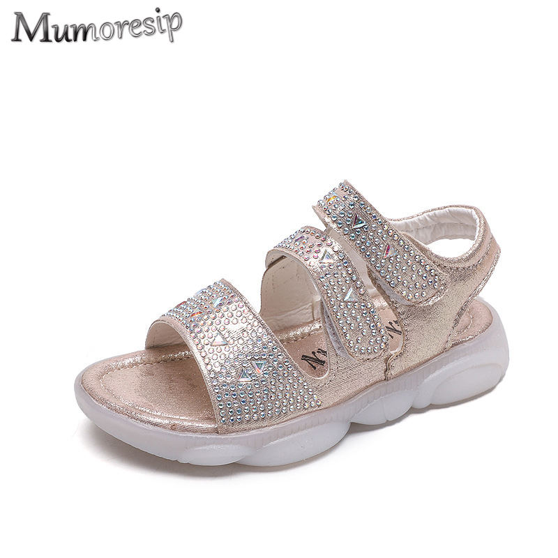 Mumoresip Brand Baby Girls Sandals Kids Summer Shoes Children Beach Sandals Soft Princess Sweet Rhinestone Bling Crystal 21-30