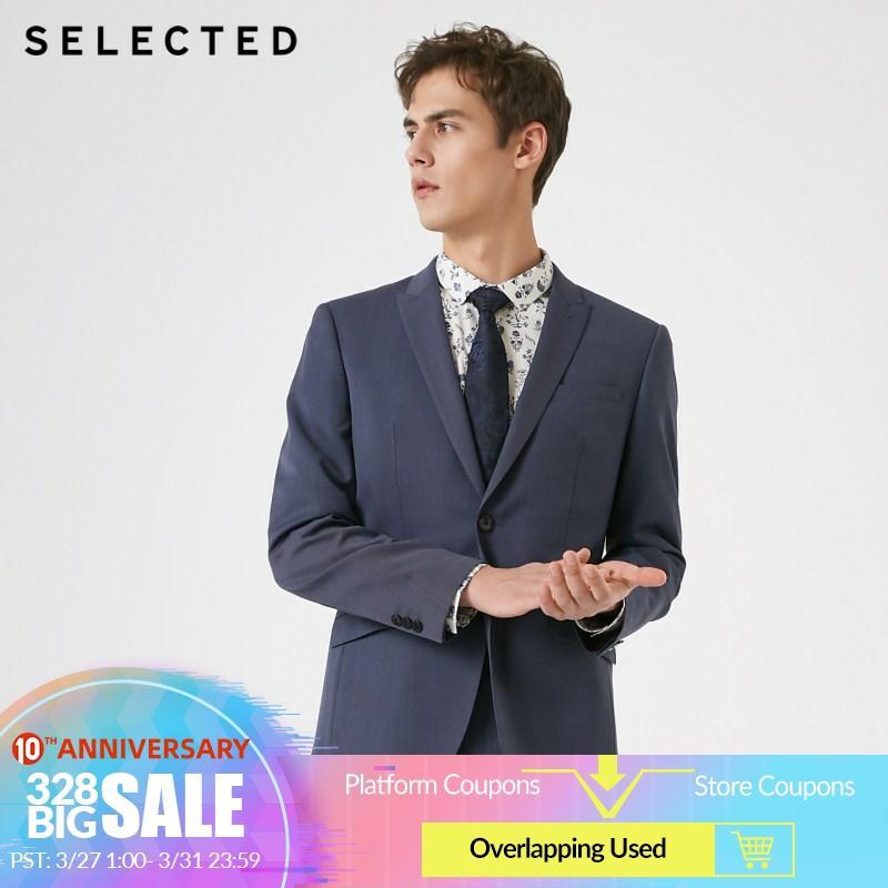 SELECTED Men's Wool Closure Collar Business Regular Fit Woolen Blazer T   41915Y507