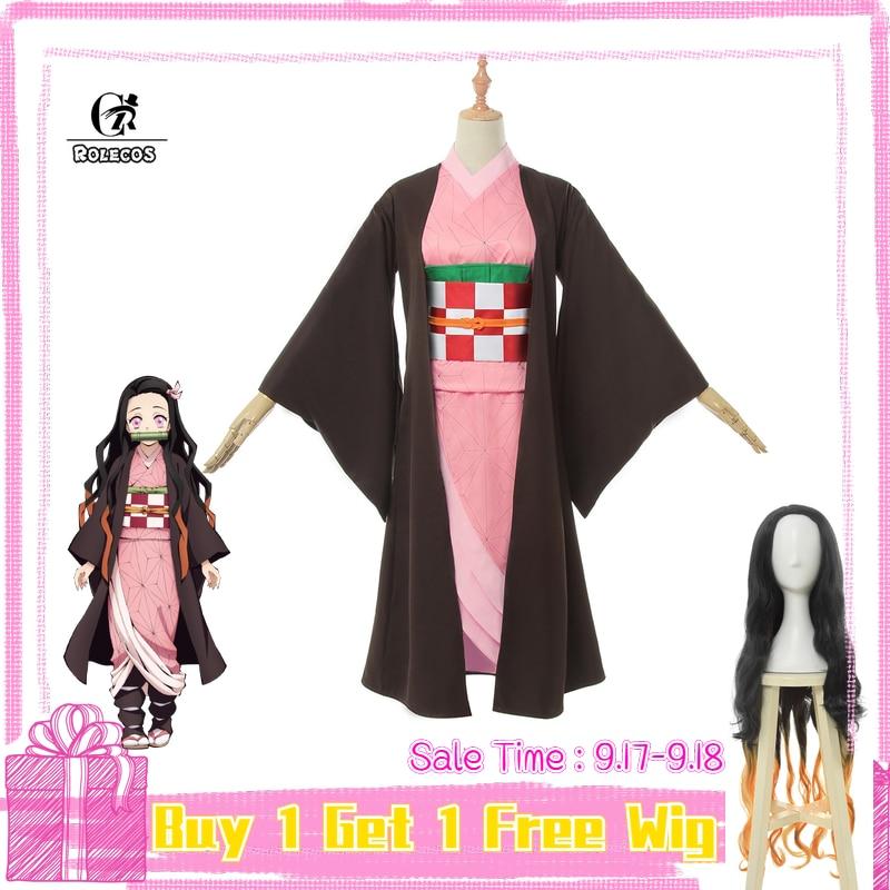 ROLECOS Anime Costume Demon Slayer Cosplay Nezuko Kimono Women Cosplay Costume Kimetsu No Yaiba Women Pink Kimono Halloween