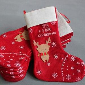 1pc Christmas Stockings Gifts Cloth Santa Elk Socks Xmas Lovely Large Gift Bag For Children Fireplace Tree Christmas Decoration