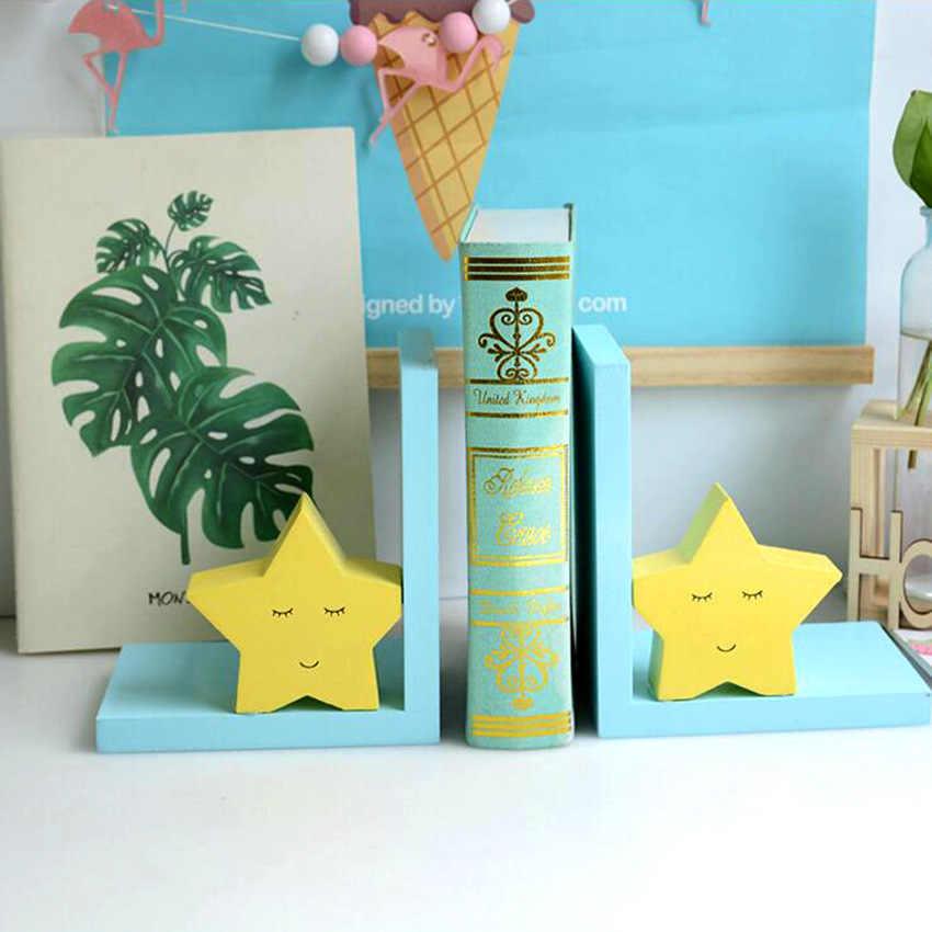 INS Biblioteca Para Crianças Decoração Enfeites de Mesa Artesanato Criativo Casa Ornamento Estrela De Madeira Bookends