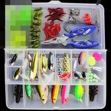 Conjunto de iscas de peixe spinner, 101 peças, minnow popper vib, colher macio, iscas de manivela, ganchos de pesca, caixa de equipamento de pesca acessórios