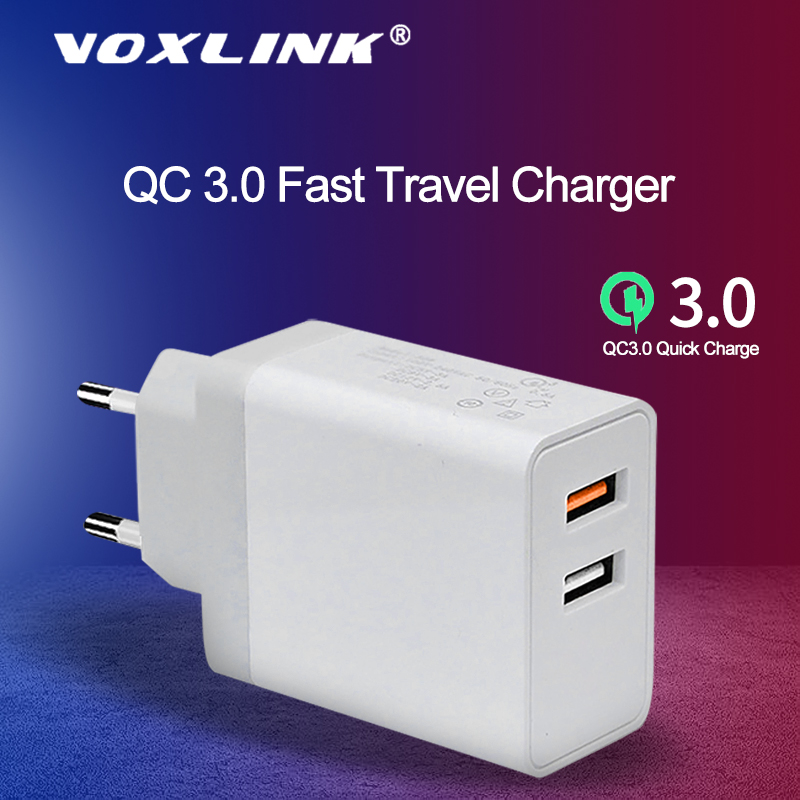 VOXLINK Quick Charger 3.0 240V Fast Phone Charger For IPhone Xxs8 7 IPad Samsung Galaxy S8 S9 S10 Galaxy HTC Xiaomi Huawei Nexus