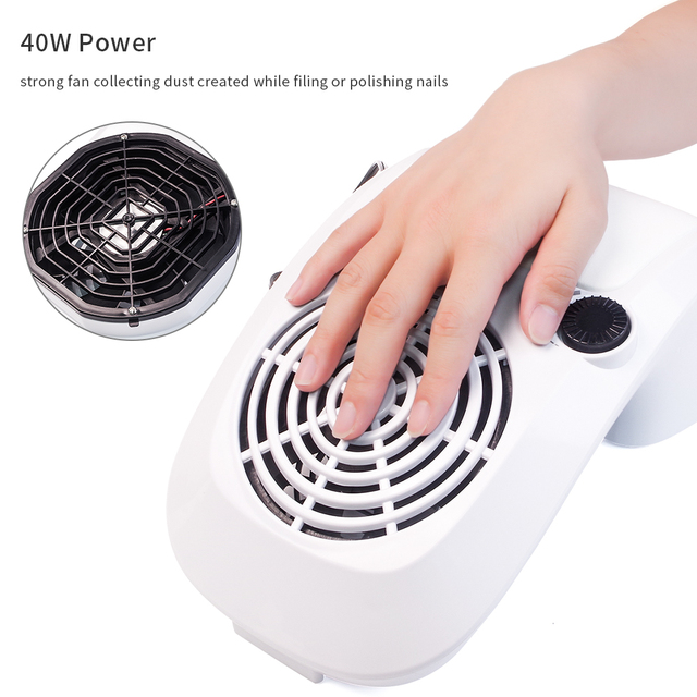 40W Powerful Nail Dust Suction Collector Vacuum Cleaner Professional Manicure Machine with 2 Dust Bags Nail Art Salon Equipment