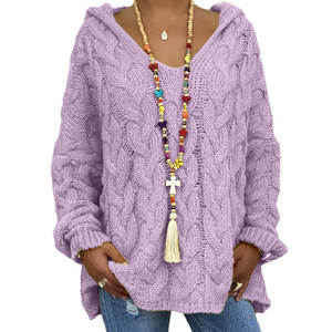 Loose Pullover Hooded Women's Sweater Knit Plus-Size Winter Fashion High-Quality And